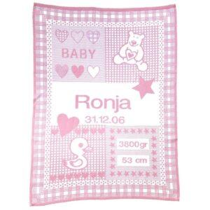 babytæppe med navn