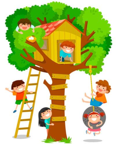 Trælegehus og børn