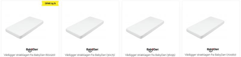 Vådliggerlagner fra BabyDan i forskellige størrelser